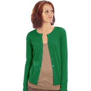Women's Crew Neck Cardigan, Cotton. Made in USA