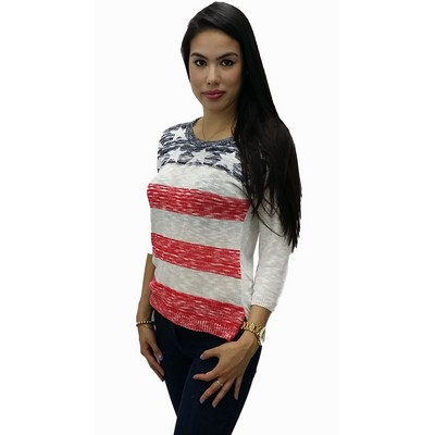 Custom Design. Stars and Stripes, American Flag, Knitted Sweater. Made in USA